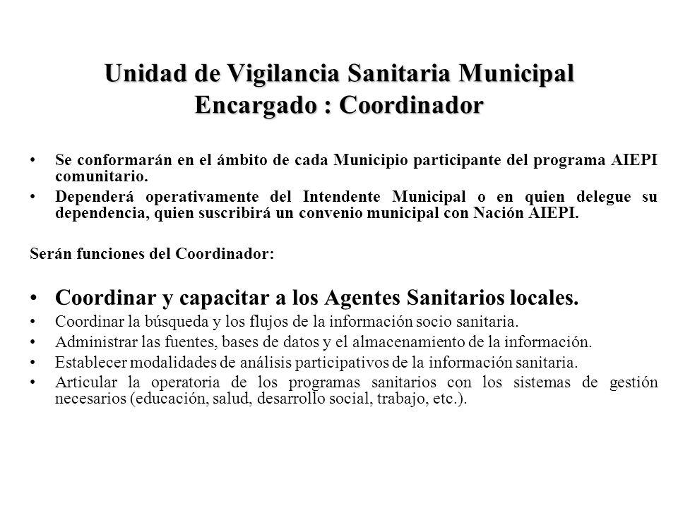 Unidad de Vigilancia Sanitaria Municipal Encargado : Coordinador Se conformarán en el ámbito de cada Municipio participante del programa AIEPI comunit