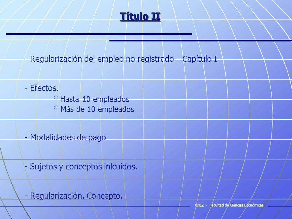 Título II (cont.) - Promoción y protección del empleo registrado – Capítulo II - Beneficio - Exclusiones - Modalidades de Contratación.
