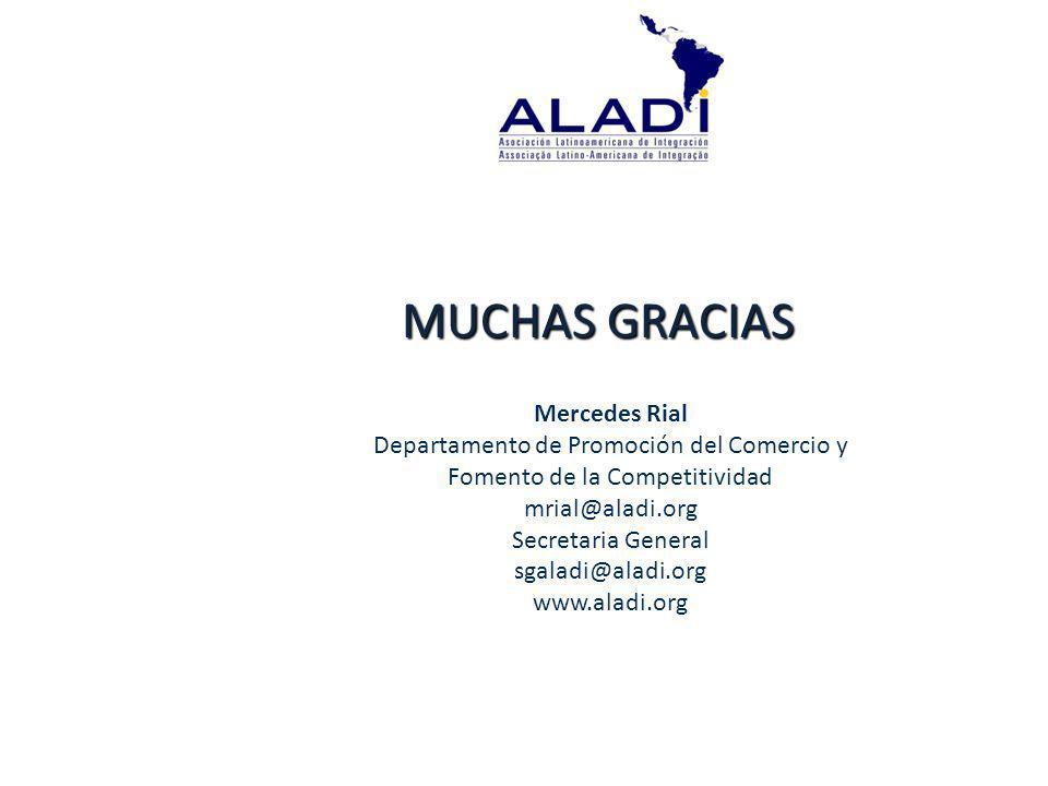 MUCHAS GRACIAS Mercedes Rial Departamento de Promoción del Comercio y Fomento de la Competitividad mrial@aladi.org Secretaria General sgaladi@aladi.org www.aladi.org