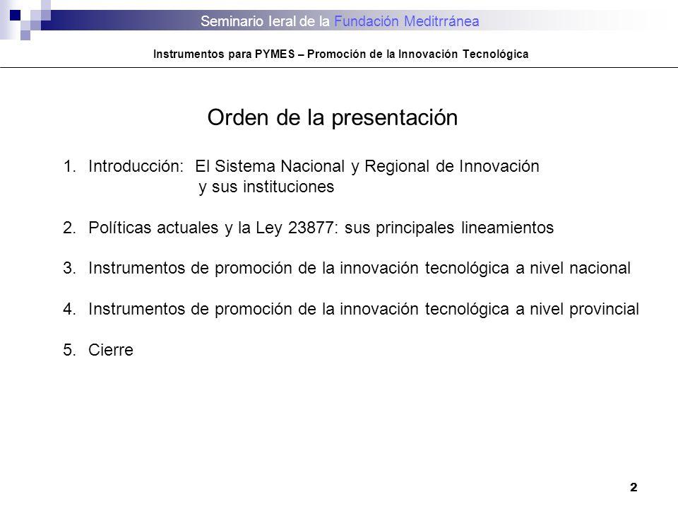 Seminario Ieral de la Fundación Meditrránea Instrumentos para PYMES – Promoción de la Innovación Tecnológica 2 Orden de la presentación 1.Introducción