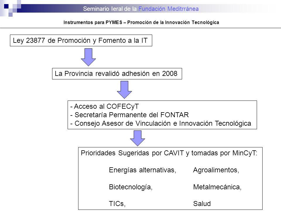 Seminario Ieral de la Fundación Meditrránea Instrumentos para PYMES – Promoción de la Innovación Tecnológica Ley 23877 de Promoción y Fomento a la IT