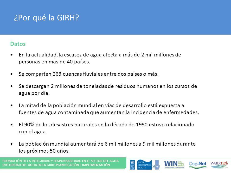 ¿Por qué la GIRH? Datos En la actualidad, la escasez de agua afecta a más de 2 mil millones de personas en más de 40 países. Se comparten 263 cuencas