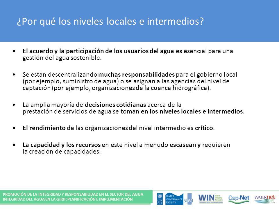 ¿Por qué los niveles locales e intermedios? El acuerdo y la participación de los usuarios del agua es esencial para una gestión del agua sostenible. S