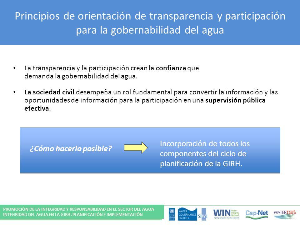 Principios de orientación de transparencia y participación para la gobernabilidad del agua La transparencia y la participación crean la confianza que demanda la gobernabilidad del agua.