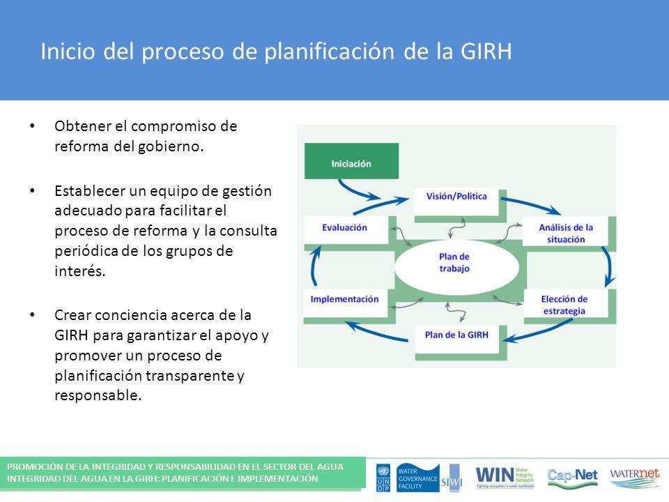 Inicio del proceso de planificación de la GIRH Obtener el compromiso de reforma del gobierno. Establecer un equipo de gestión adecuado para facilitar