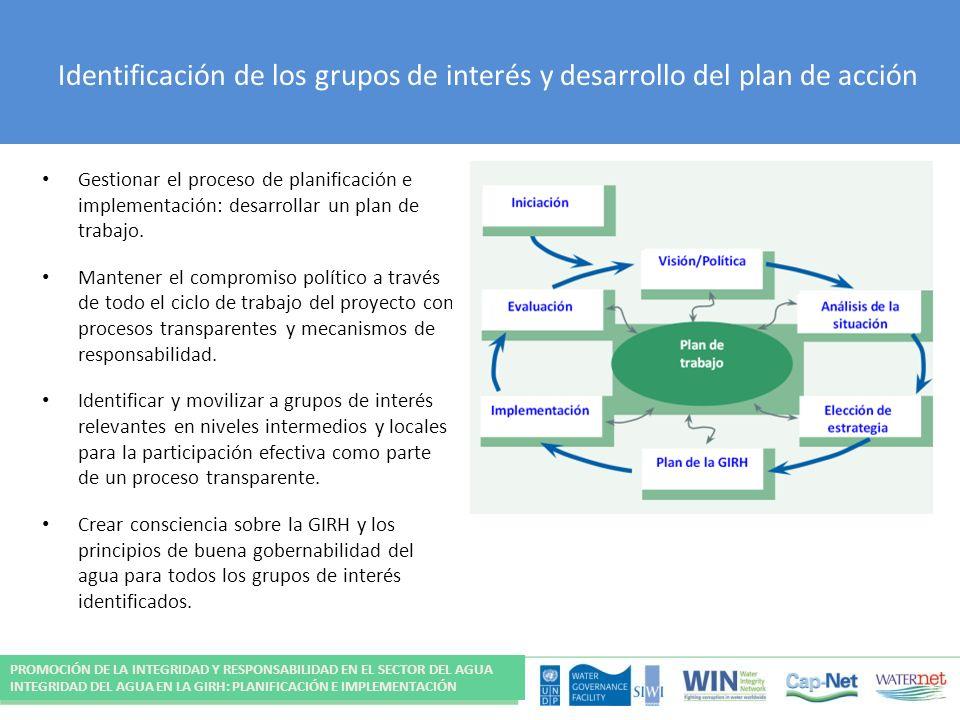 Identificación de los grupos de interés y desarrollo del plan de acción Gestionar el proceso de planificación e implementación: desarrollar un plan de trabajo.