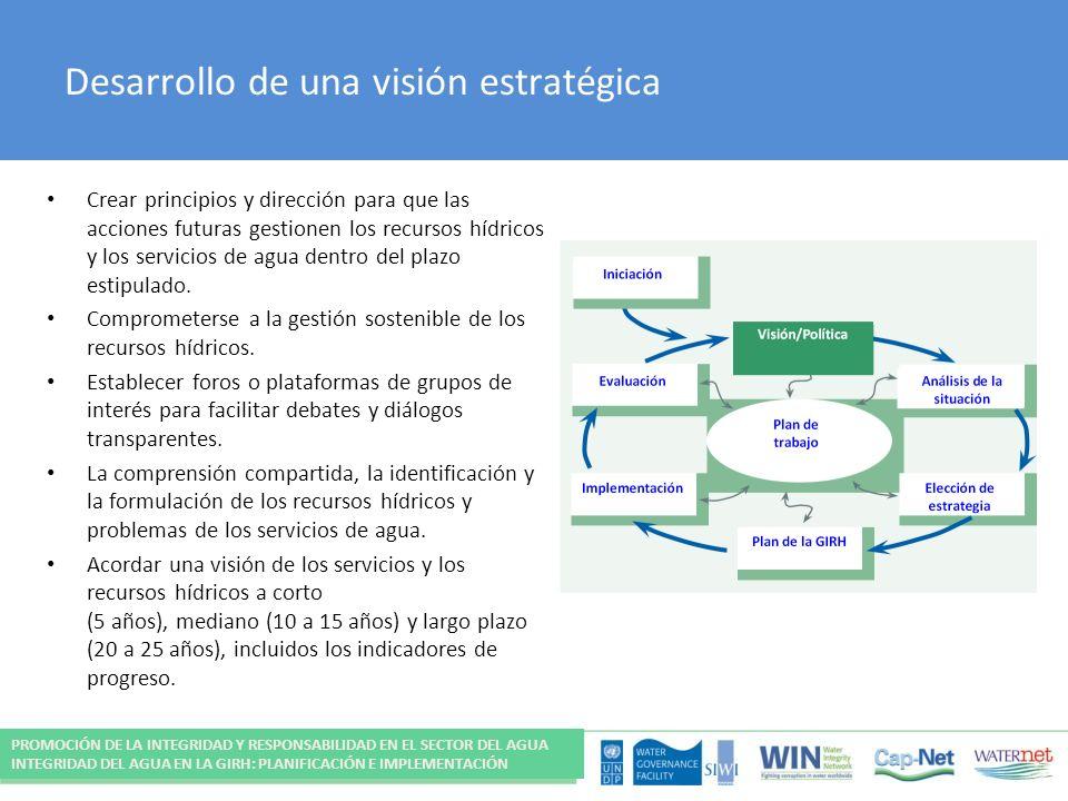 Desarrollo de una visión estratégica Crear principios y dirección para que las acciones futuras gestionen los recursos hídricos y los servicios de agua dentro del plazo estipulado.