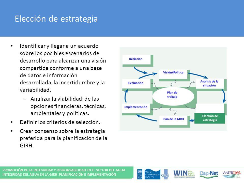 Elección de estrategia Identificar y llegar a un acuerdo sobre los posibles escenarios de desarrollo para alcanzar una visión compartida conforme a una base de datos e información desarrollada, la incertidumbre y la variabilidad.