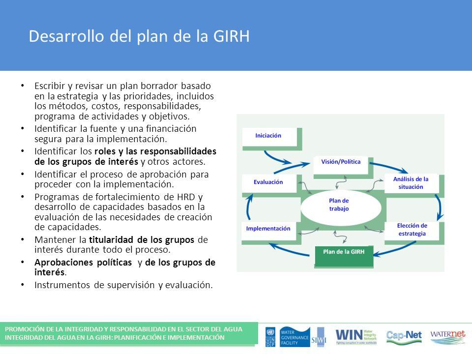 Desarrollo del plan de la GIRH Escribir y revisar un plan borrador basado en la estrategia y las prioridades, incluidos los métodos, costos, responsabilidades, programa de actividades y objetivos.