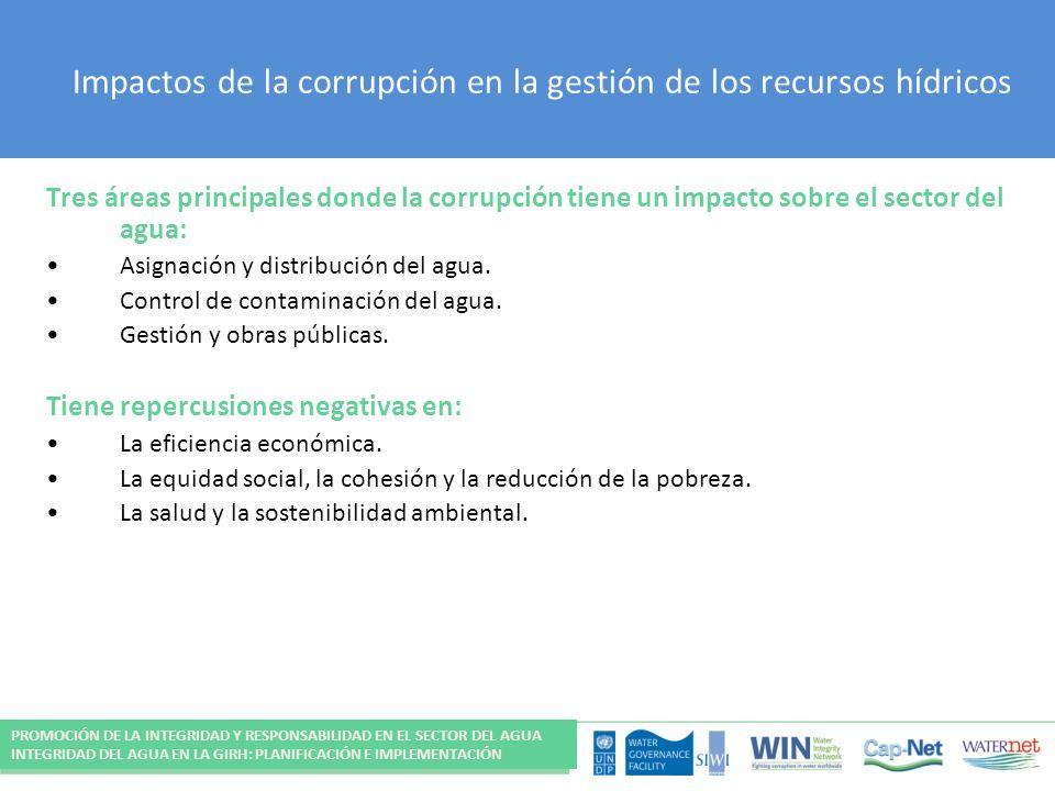 Impactos de la corrupción en la gestión de los recursos hídricos Tres áreas principales donde la corrupción tiene un impacto sobre el sector del agua: Asignación y distribución del agua.
