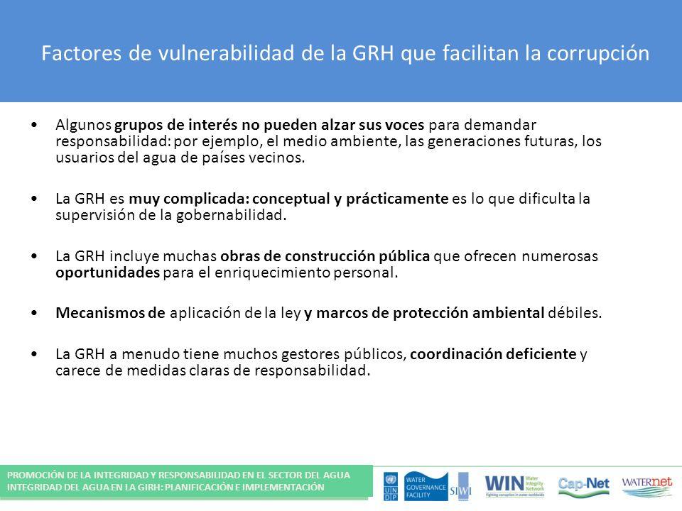 Factores de vulnerabilidad de la GRH que facilitan la corrupción Algunos grupos de interés no pueden alzar sus voces para demandar responsabilidad: por ejemplo, el medio ambiente, las generaciones futuras, los usuarios del agua de países vecinos.