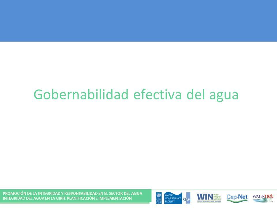 Gobernabilidad efectiva del agua PROMOCIÓN DE LA INTEGRIDAD Y RESPONSABILIDAD EN EL SECTOR DEL AGUA INTEGRIDAD DEL AGUA EN LA GIRH: PLANIFICACIÓN E IM