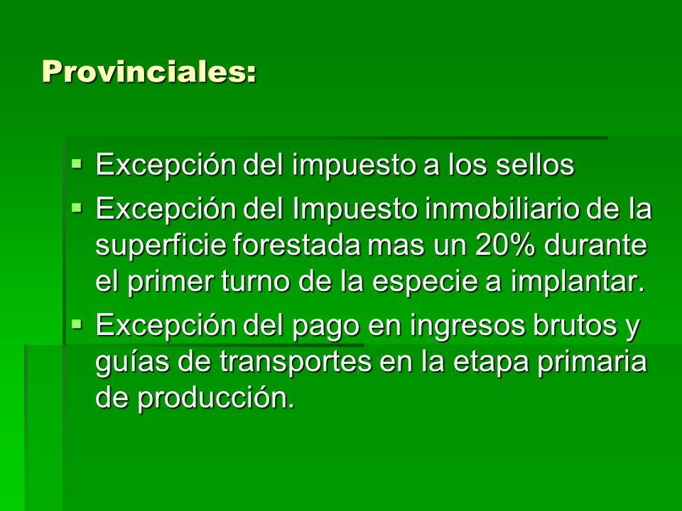 Provinciales: Excepción del impuesto a los sellos Excepción del impuesto a los sellos Excepción del Impuesto inmobiliario de la superficie forestada mas un 20% durante el primer turno de la especie a implantar.