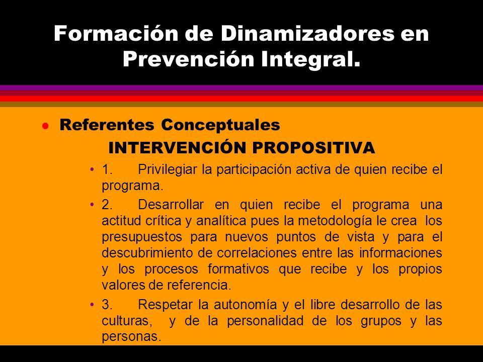 Formación de Dinamizadores en Prevención Integral. l Referentes Conceptuales INTERVENCIÓN PROPOSITIVA 1.Privilegiar la participación activa de quien r