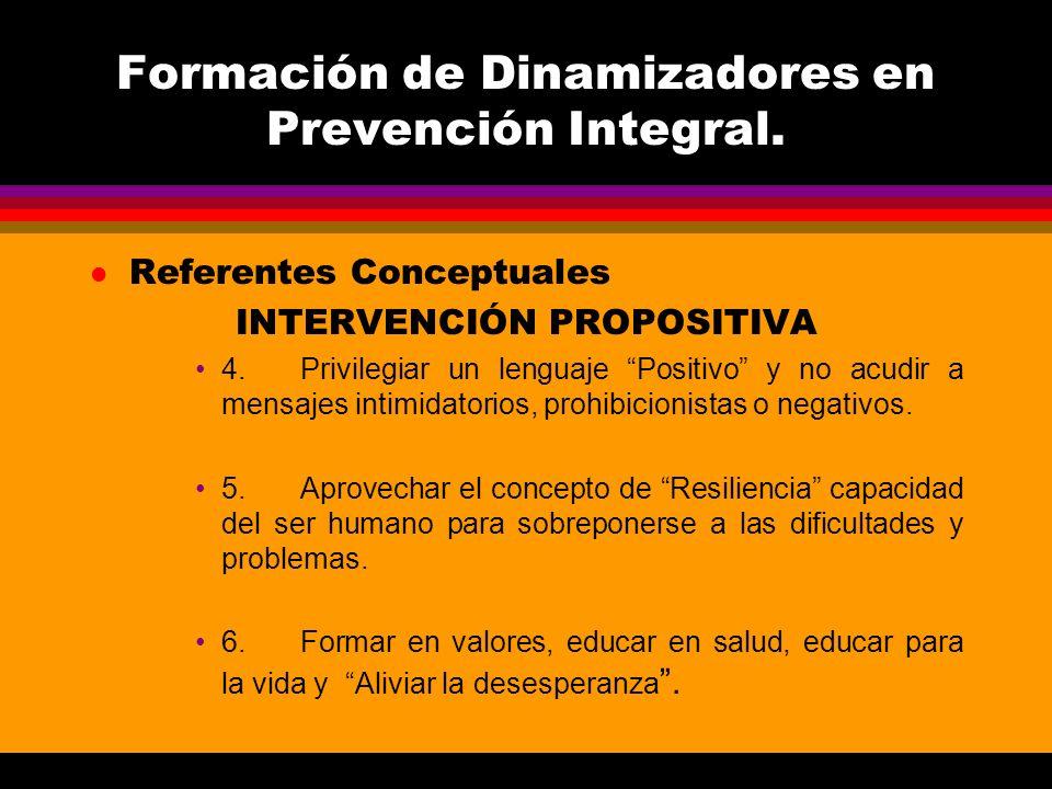 Formación de Dinamizadores en Prevención Integral. l Referentes Conceptuales INTERVENCIÓN PROPOSITIVA 4.Privilegiar un lenguaje Positivo y no acudir a