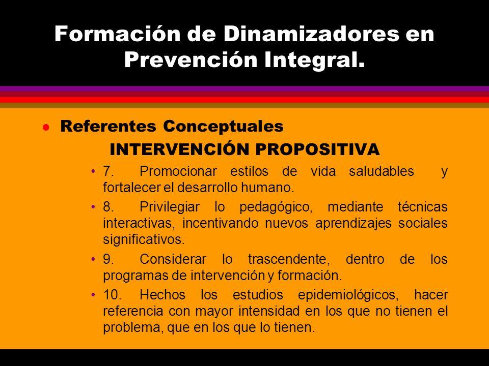Formación de Dinamizadores en Prevención Integral. l Referentes Conceptuales INTERVENCIÓN PROPOSITIVA 7.Promocionar estilos de vida saludables y forta