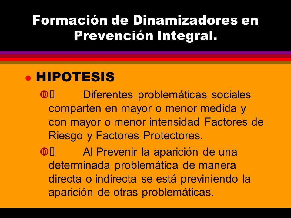 Formación de Dinamizadores en Prevención Integral. l HIPOTESIS Diferentes problemáticas sociales comparten en mayor o menor medida y con mayor o menor