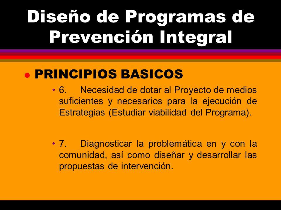 Diseño de Programas de Prevención Integral l PRINCIPIOS BASICOS 6.Necesidad de dotar al Proyecto de medios suficientes y necesarios para la ejecución