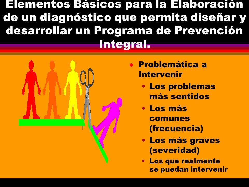 Elementos Básicos para la Elaboración de un diagnóstico que permita diseñar y desarrollar un Programa de Prevención Integral. l Problemática a Interve