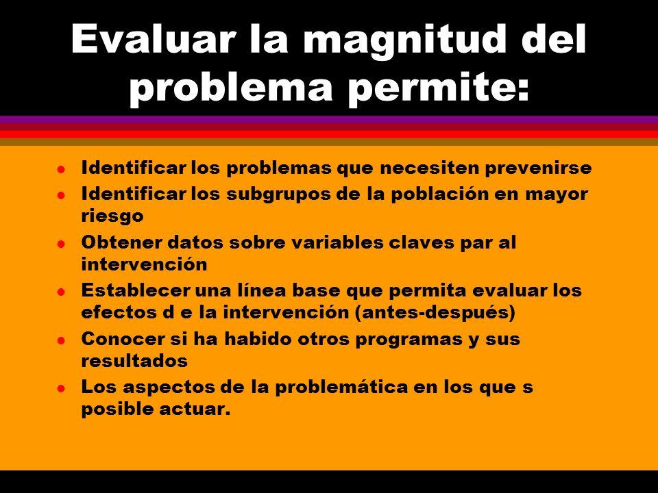 Evaluar la magnitud del problema permite: l Identificar los problemas que necesiten prevenirse l Identificar los subgrupos de la población en mayor ri
