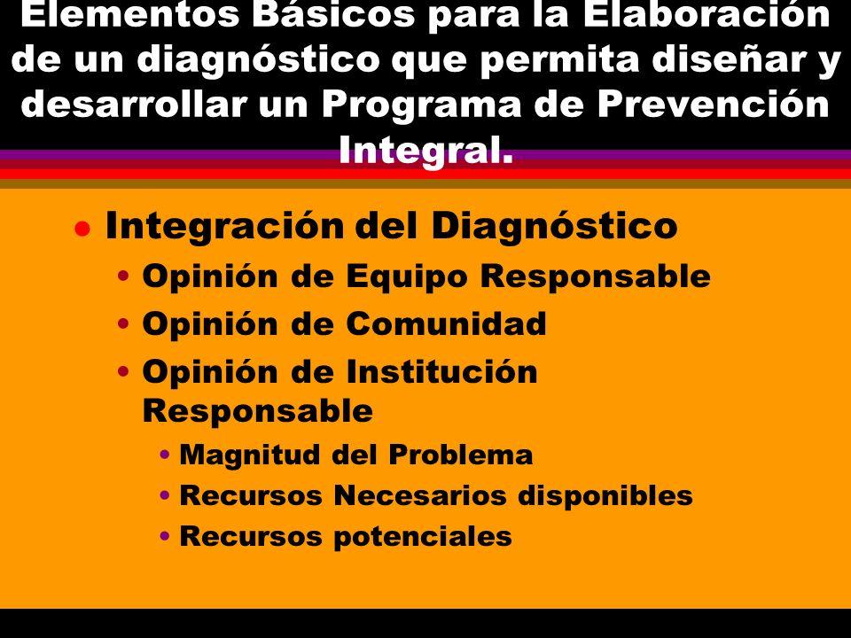 Elementos Básicos para la Elaboración de un diagnóstico que permita diseñar y desarrollar un Programa de Prevención Integral. l Integración del Diagnó