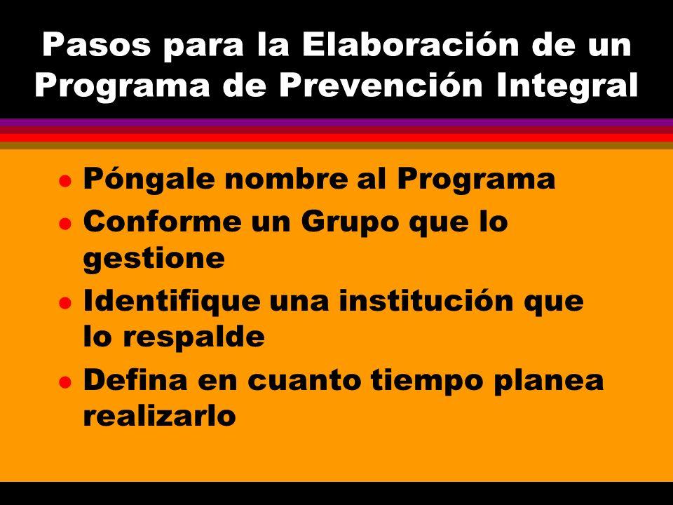 Pasos para la Elaboración de un Programa de Prevención Integral l Póngale nombre al Programa l Conforme un Grupo que lo gestione l Identifique una ins