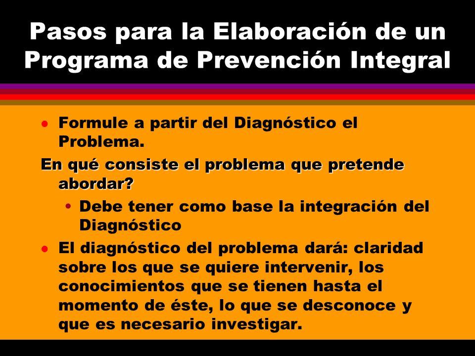 Pasos para la Elaboración de un Programa de Prevención Integral l Formule a partir del Diagnóstico el Problema. En qué consiste el problema que preten