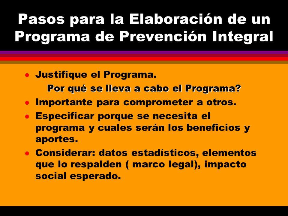 Pasos para la Elaboración de un Programa de Prevención Integral l Justifique el Programa. Por qué se lleva a cabo el Programa? l Importante para compr