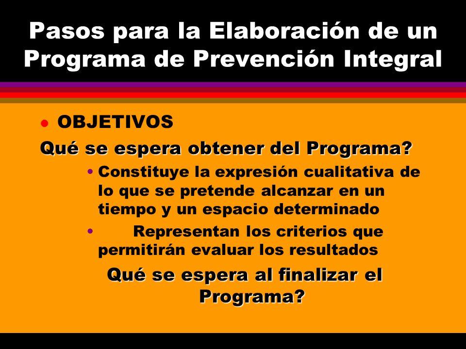 Pasos para la Elaboración de un Programa de Prevención Integral l OBJETIVOS Qué se espera obtener del Programa? Constituye la expresión cualitativa de
