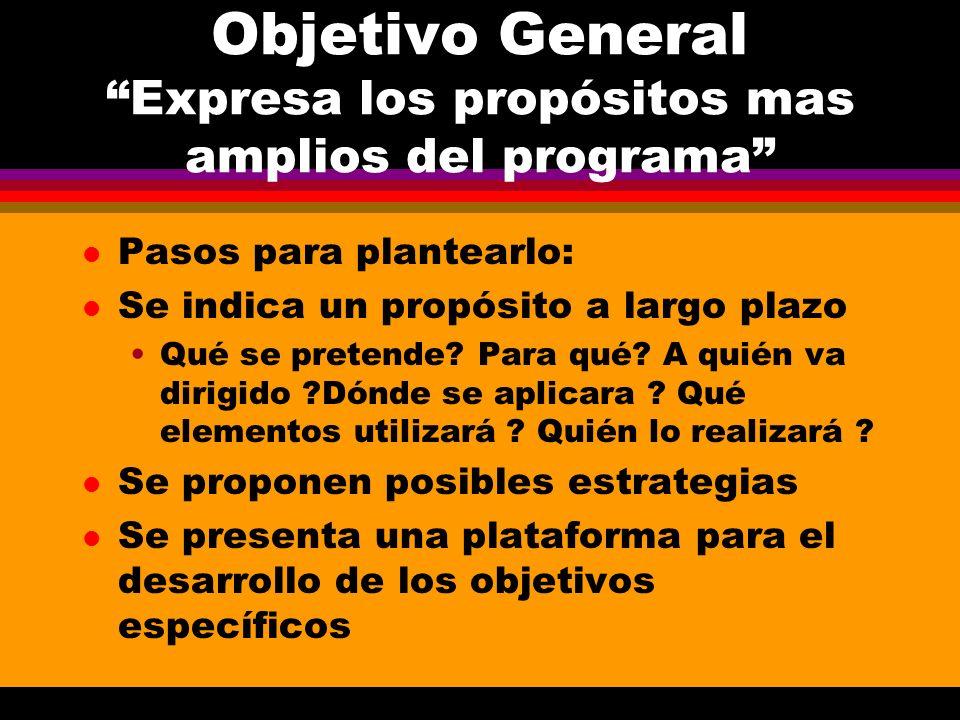 Objetivo General Expresa los propósitos mas amplios del programa l Pasos para plantearlo: l Se indica un propósito a largo plazo Qué se pretende? Para