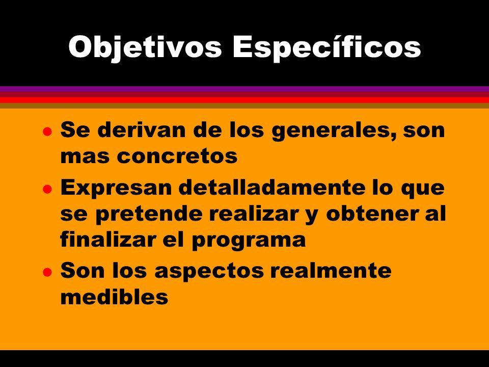 Objetivos Específicos l Se derivan de los generales, son mas concretos l Expresan detalladamente lo que se pretende realizar y obtener al finalizar el