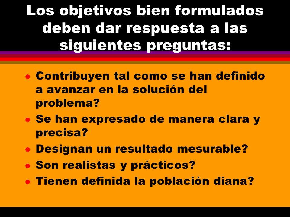 Los objetivos bien formulados deben dar respuesta a las siguientes preguntas: l Son coherentes con la definición dela problemática que se pretende intervenir.