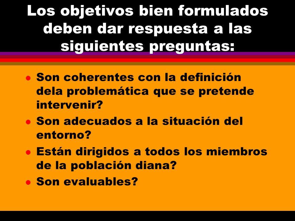 Los objetivos bien formulados deben dar respuesta a las siguientes preguntas: l Son coherentes con la definición dela problemática que se pretende int