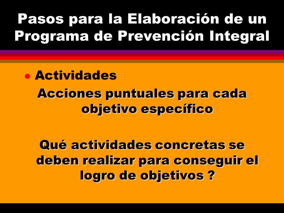Pasos para la Elaboración de un Programa de Prevención Integral l Metas ( Resultados) Son la expresión cuantificada de los objetivos y acciones a alcanzar dentro del programa Acciones cuantificables para cada actividad Cuántas acciones se pretenden realizar .