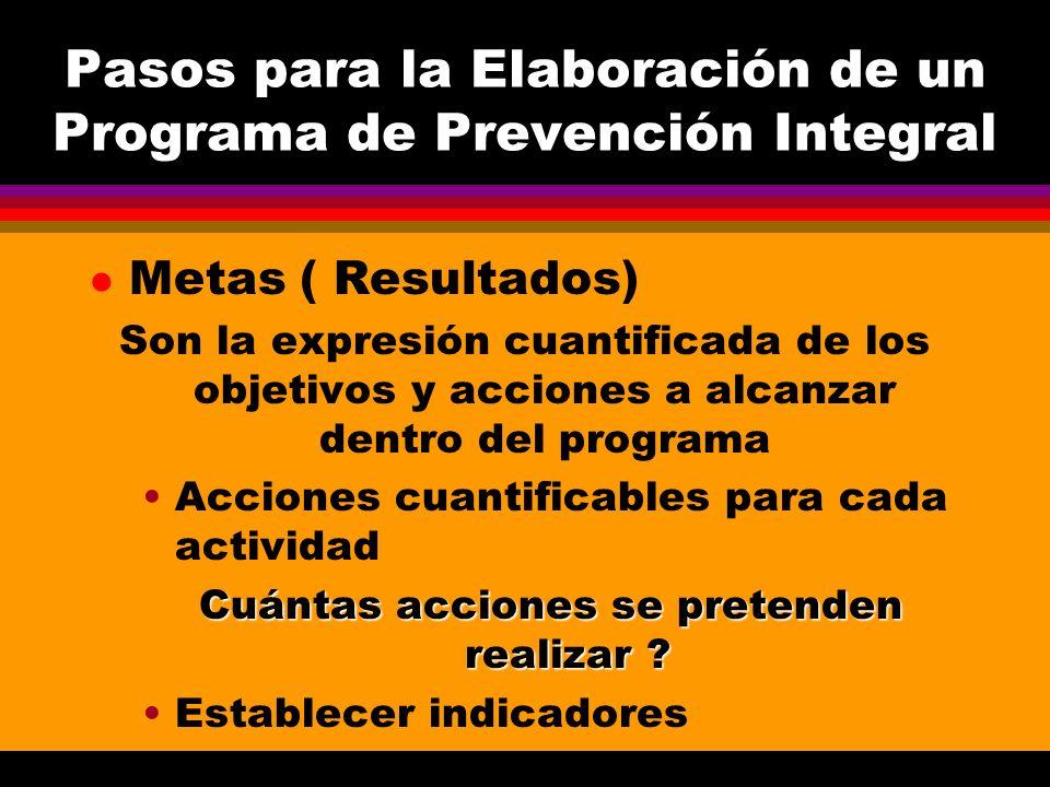 Pasos para la Elaboración de un Programa de Prevención Integral l Metas ( Resultados) Son la expresión cuantificada de los objetivos y acciones a alca