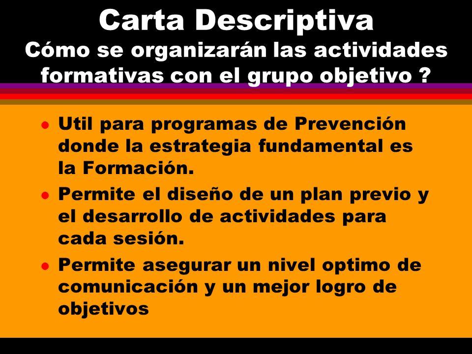 Carta Descriptiva Cómo se organizarán las actividades formativas con el grupo objetivo ? l Util para programas de Prevención donde la estrategia funda
