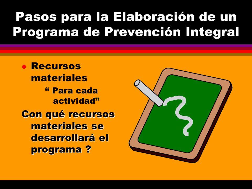Pasos para la Elaboración de un Programa de Prevención Integral l Recursos materiales Para cada actividad Con qué recursos materiales se desarrollará