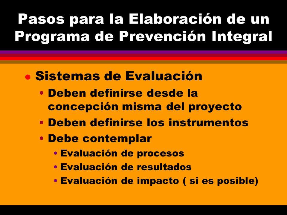 Pasos para la Elaboración de un Programa de Prevención Integral l Sistemas de Evaluación Deben definirse desde la concepción misma del proyecto Deben