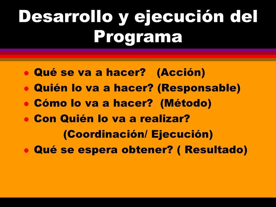 Desarrollo y ejecución del Programa l Qué se va a hacer? (Acción) l Quién lo va a hacer? (Responsable) l Cómo lo va a hacer? (Método) l Con Quién lo v