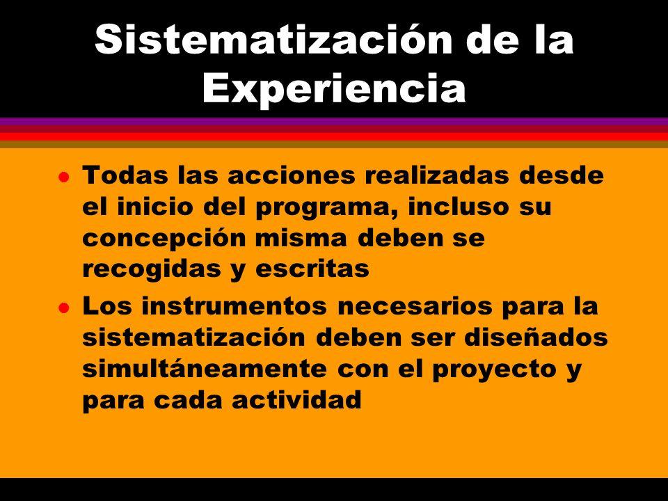 Sistematización de la Experiencia l Todas las acciones realizadas desde el inicio del programa, incluso su concepción misma deben se recogidas y escri