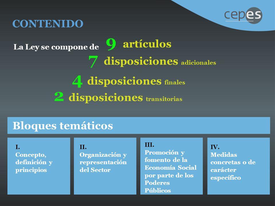 CONTENIDO La Ley se compone de 9 artículos 7 disposiciones adicionales 4 disposiciones finales 2 disposiciones transitorias Bloques temáticos I.