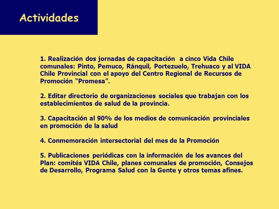1. Realización dos jornadas de capacitación a cinco Vida Chile comunales: Pinto, Pemuco, Ránquil, Portezuelo, Trehuaco y al VIDA Chile Provincial con