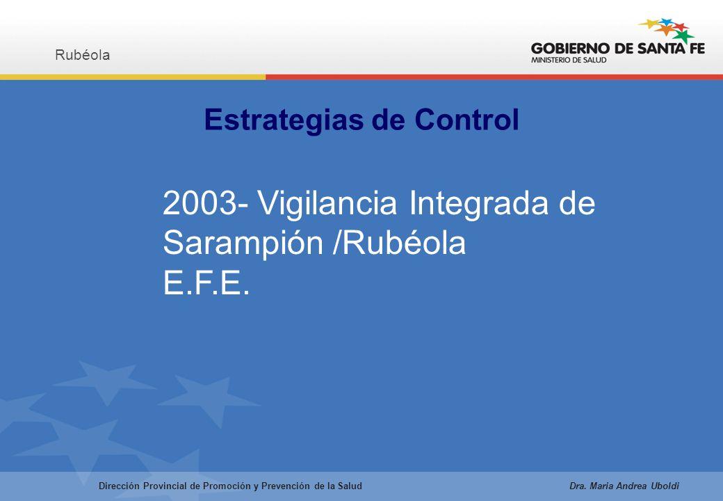 Estrategias de Control Rubéola Dirección Provincial de Promoción y Prevención de la Salud Dra.