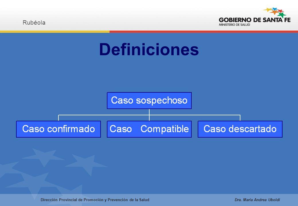 Definiciones Rubéola Dirección Provincial de Promoción y Prevención de la Salud Dra.