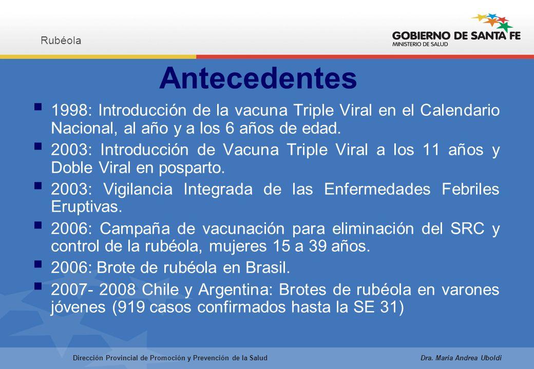 1998: Introducción de la vacuna Triple Viral en el Calendario Nacional, al año y a los 6 años de edad.