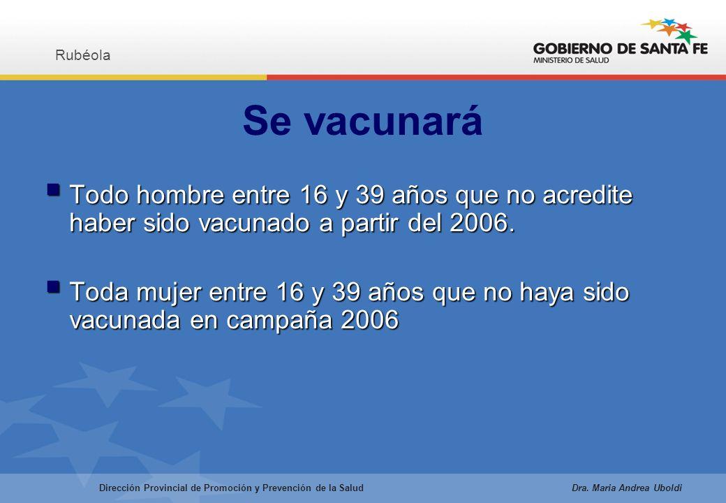 Se vacunará Todo hombre entre 16 y 39 años que no acredite haber sido vacunado a partir del 2006.