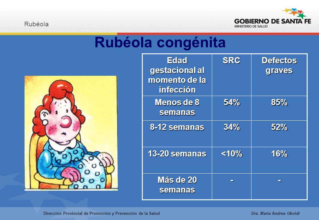 Rubéola congénita Rubéola Dirección Provincial de Promoción y Prevención de la Salud Dra.
