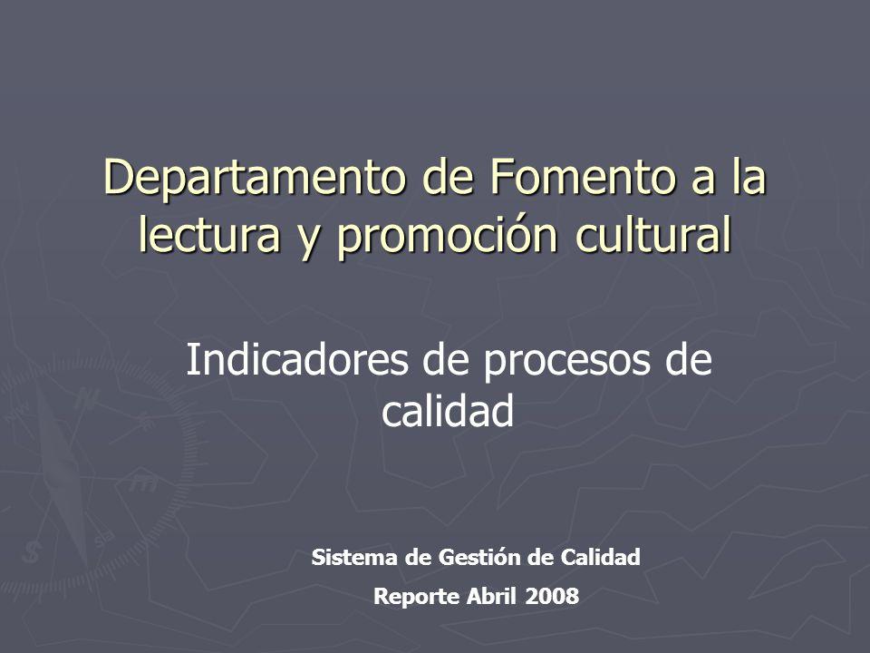 Departamento de Fomento a la lectura y promoción cultural Sistema de Gestión de Calidad Reporte Abril 2008 Indicadores de procesos de calidad