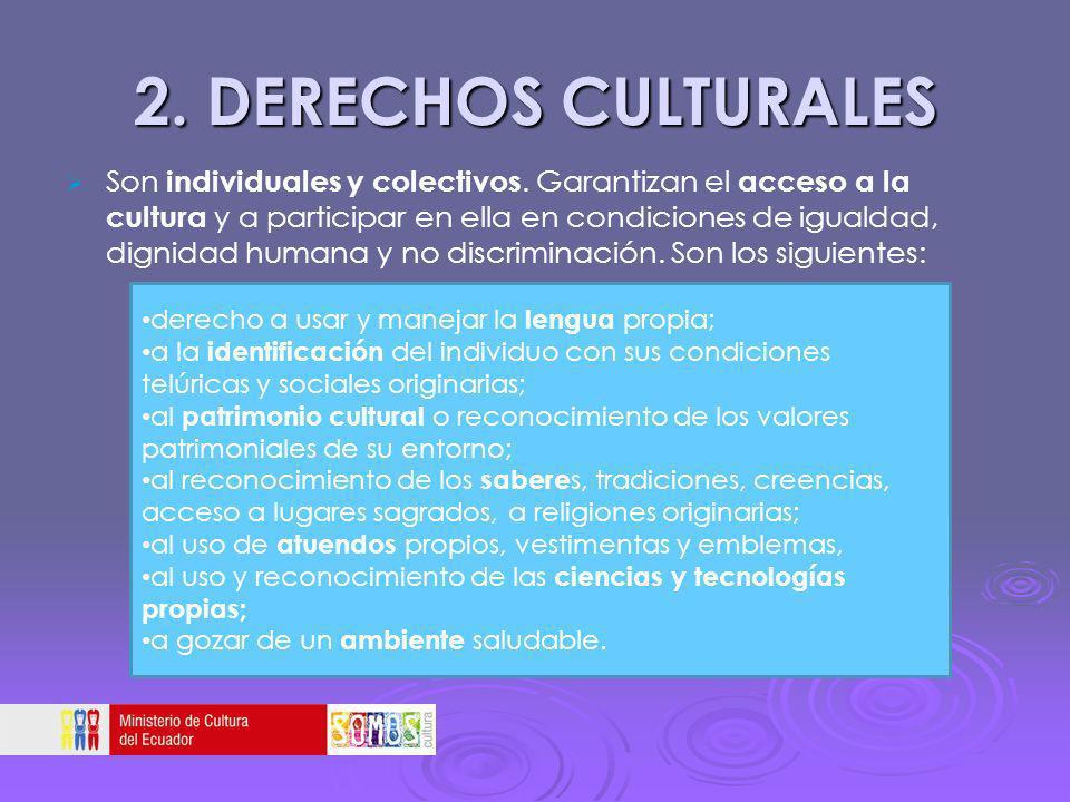 2. DERECHOS CULTURALES Son individuales y colectivos. Garantizan el acceso a la cultura y a participar en ella en condiciones de igualdad, dignidad hu