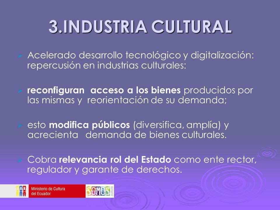 3.INDUSTRIA CULTURAL Acelerado desarrollo tecnológico y digitalización: repercusión en industrias culturales: reconfiguran acceso a los bienes produci